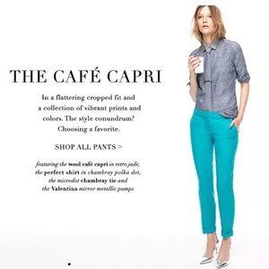 J. Crew cafe capri pants in size 0P turquoise